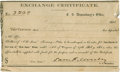 "Miscellaneous:Ephemera, Civil War Exchange Certificate, partly printed, 5.5"" x 3.5"",December 28, 1864, Jefferson, Texas. Endorsed on verso. Very go..."