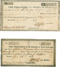 "Miscellaneous:Ephemera, Republic of Texas: Two Payment Certificates with CancelledSignatures of Francis Lubbock. Both near 6"" x 3"", 1838, Houston.... (Total: 2 Items)"