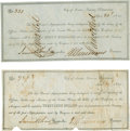 """Miscellaneous:Ephemera, Two Republic of Texas Naval Appropriation Certificates, 7"""" x 3.25"""",April 23, 1841, Austin. One, with a value of $25, has ca... (Total:2 Items)"""
