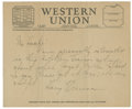 "Autographs:U.S. Presidents, Harry S. Truman Autograph Telegram Signed. One page, 8.5"" x 7"",ca. 1944, n.p., to ""Mr. Haake"" concerningTruman..."