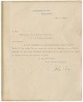 "Autographs:Statesmen, John Hay Typed Letter Signed. One page, 8"" x 10"", May 1, 1900,""Department of State. Washington."" A letter of introducti..."