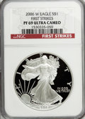 Modern Bullion Coins, 2006-W $1 Silver Eagle First Strikes PR69 Ultra Cameo NGC. PCGSPopulation (4829/815). (#799976)...