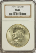 Eisenhower Dollars: , 1974-S $1 Silver MS66 NGC. NGC Census: (750/766). PCGS Population (2082/4162). Mintage: 1,900,156. Numismedia Wsl. Price fo...