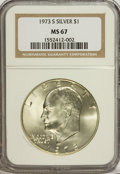 Eisenhower Dollars: , 1973-S $1 Silver MS67 NGC. NGC Census: (446/95). PCGS Population (2818/772). Mintage: 869,400. Numismedia Wsl. Price for NG...