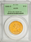 Liberty Eagles: , 1895-S $10 AU55 PCGS. PCGS Population (39/25). NGC Census: (50/59).Mintage: 49,000. Numismedia Wsl. Price for NGC/PCGS coi...
