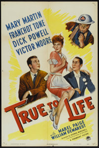 """True to Life (Paramount, 1943). One Sheet (27"""" X 41"""") Style A. Comedy"""