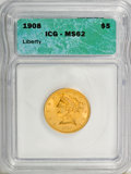 1908 $5 MS62 ICG. NGC Census: (1638/2086). PCGS Population (1224/2071). Mintage: 421,874. Numismedia Wsl. Price for NGC/...