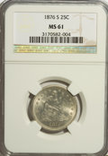 Seated Quarters: , 1876-S 25C MS61 NGC. NGC Census: (19/160). PCGS Population(10/182). Mintage: 8,596,000. Numismedia Wsl. Price for NGC/PCGS...