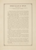 "Miscellaneous:Broadside, Broadside: 1852 Contemporary Souvenir Printing of ""Child of theAlamo"" Speech by Guy M. Bryan. One page, 8.5"" x 12.75"",18..."