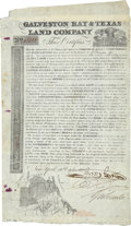 """Autographs:Statesmen, Galveston Bay & Texas Land Company Stock. One page, 8"""" x 13.5"""",October 16, 1830, New York, numbered 13103 at top left, for ..."""