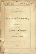 Books:First Editions, The Constitution of the State of Colorado, Adopted in theConvention, March 14, 1876; also the Address of theConventi...