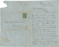 """Autographs:Military Figures, Civil War Era Business Letter to T. W. House with Cover and Postage. One and one-half pages, 5"""" x 8.25"""", December 16, 1864, ..."""