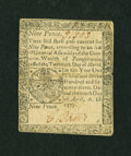 Colonial Notes:Pennsylvania, Pennsylvania April 10, 1777 9d Very Fine-Extremely Fine....