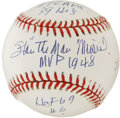 Autographs:Baseballs, Stan Musial Single Signed Baseball MVP . We offer this very unusualOML (Coleman) baseball. The orb has been blessed with t...