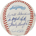 Autographs:Baseballs, No-Hit Club Baseball Signed by 12. One dozen hurlers who possessed stuff that many considered unhittable have checked in on...