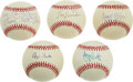 Autographs:Baseballs, Four Hall of Fame Single Signed Baseballs and Chico Lot of Five.For your perusal is a lot of five official orbs signed by ...