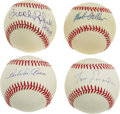 Autographs:Baseballs, Bob Feller, Tommy Lasorda, and Brooks Robinson Hall of Fame SingleSigned Baseballs Lot of 3. We offer here a great group o...