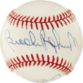 Autographs:Baseballs, Hall of Famers Multi-Signed Baseball. Five Hall of Famers have cometogether and signed this beautiful OAL (Brown) baseball...