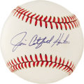 Autographs:Baseballs, Jim Catfish Hunter Single Signed Baseball. One of the most dominantpitchers in the 70's, Catfish Hunter led the American L...