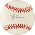 Autographs:Baseballs, Yogi Berra Single Signed Baseball. Absolutely stunning is thissigned Yogi Berra signature on this pristine OAL (Brown) bas...