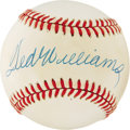 Autographs:Baseballs, Ted Williams Single Signed Baseball. The Splendid Splinter boldlyannounced his presence on the sweet spot of the offered O...