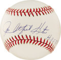 "Autographs:Baseballs, Jim Catfish Hunter ""H.O.F. 87"" Single Signed Baseball. Hall of Famemound wizard Jim Hunter has added his familiar ""Catfish..."