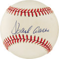 Autographs:Baseballs, Hank Aaron Single Signed Baseball. The current King of the Home Runhas supplied his desirable ink signature to the creamy ...