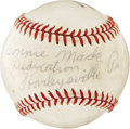 Autographs:Baseballs, Hans Lobert Single Signed Baseball. A contemporary of Honus Wagner, Hans Lobert penned his signature on the Connie Mack Off...