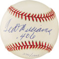 "Autographs:Baseballs, Ted Williams "".406"" Single Signed Baseball. A veritable member ofbaseball royalty here makes reference to one of the most-..."