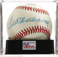 Autographs:Baseballs, Ted Williams Single Signed Baseball, PSA NM-MT+ 8.5. Booming sweetspot sig courtesy of legendary Ted Williams. Ball has bee...