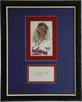 Autographs:Index Cards, Satchel Paige Signed Index Card Display. The ageless wonder hurler Satchel Paige has signed the index card that we offer he...