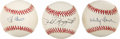 Autographs:Baseballs, Lot of Three HOF Single Signed Baseballs with Rizzuto/Berra/Ford.What a beautiful collection of single signed baseballs! T...