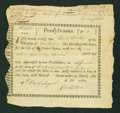 Colonial Notes:Pennsylvania, Pennsylvania 1780 Interest Bearing Certificate. PA-2. Low SerialNumber 3. Very Fine....
