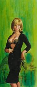 Pulp, Pulp-like, Digests, and Paperback Art, PAUL RADER (American, b. 1906). Ask Me No Questions, paperbackcover, 1965. Mixed media on paper. 15.5 x 7 in.. Not sign...