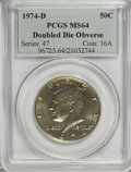 Kennedy Half Dollars: , 1974-D 50C Doubled Die Obverse MS64 PCGS. PCGS Population (243/77).(#96723)...