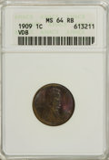 1909 VDB 1C MS64 Red and Brown ANACS. NGC Census: (5/6). PCGS Population (1308/664). Mintage: 27,995,000. Numismedia Wsl...
