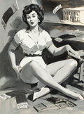 Pin-up and Glamour Art, WILLIAM MEDCALF (American, 20th Century). Victor Gaskets,preliminary study for an ad illustration. Gouache on board.24...