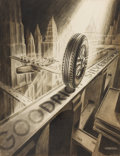 Works on Paper, JOSE ARENTZ (20th Century). B. F. Goodrich Silvertowns Tire ad illustration, 1935. Ink on paper. 22 x 17.75 in.. Signed ...