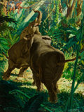 Mainstream Illustration, COURTNEY ALLEN (American, 1896-1969). Territorial Elephants.Oil on canvas. 40.25 x 30.25 in.. Signed lower right. ...