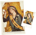 Political:Small Paper (1896-present), Woman's Suffrage: Postcard and Source Illustration.... (Total: 2Items)