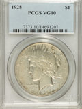Peace Dollars: , 1928 $1 VG10 PCGS. PCGS Population (3/6644). NGC Census: (0/4343).Mintage: 360,649. Numismedia Wsl. Price for NGC/PCGS coi...