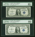 Small Size:Silver Certificates, Fr. 1608* $1 1935A Silver Certificates. Two Examples. PMG Graded.. ... (Total: 2 notes)