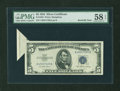 Error Notes:Foldovers, Fr. 1655 $5 1953 Silver Certificate. PMG Choice About Unc 58 EPQ.....