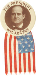Political:Pinback Buttons (1896-present), William Jennings Bryan: Large 1908 Celluloid Portrait Button with the Original Flag Ribbon....