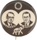 Political:Pinback Buttons (1896-present), Landon & Knox: Important and Possibly Unique Black-and-WhiteSample....