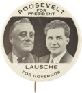 """Political:Pinback Buttons (1896-present), Roosevelt & Lausche: Very Scarce 2 1/8"""" Ohio Coat-tail Jugate Button...."""
