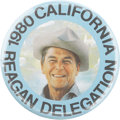 Political:Pinback Buttons (1896-present), Ronald Reagan: The Key 1980 California Delegation Button....