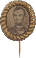 Political:Ferrotypes / Photo Badges (pre-1896), Abraham Lincoln: Superb Oval 1864 Pinback Ferrotype....