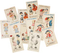 Political:Small Paper (1896-present), Woman's Suffrage: Thirteen Postcards by Bernhardt Wall.... (Total:13 Items)
