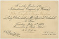 Political:Small Paper (1896-present), Woman's Suffrage: Invitation to an 1899 International Congress of Women. ...